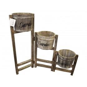 Soporte de madera para 3 maceta escalera